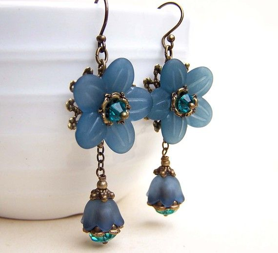 Dark teal lucite flower earrings
