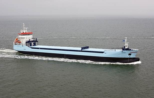 """Damen Combi Freighter 8200, """"M.V. Marfaam"""" was delivered to its owner in 2011. A 118 m vessel is equipped with 1 x MAK, type 9M 25 C. Trial speed at mx. Draft and 2.970 kW output: 13.6 knots. Total number of containers on deck and in holds – 341 TEU. http://www.damen.nl/news/deliveries/2011/11/cf-8200-ice-1a-marfaam"""