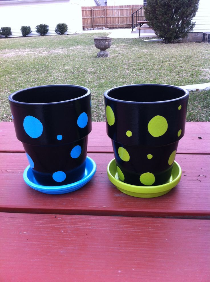 Painted terra cotta pots.