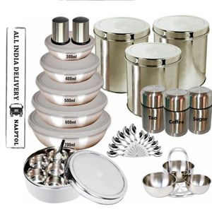 This set is made of high quality of stainless steel material which is ideal for storage. It comes in different standard sizes that exactly meet your storage requirements of kitchen. Itâ