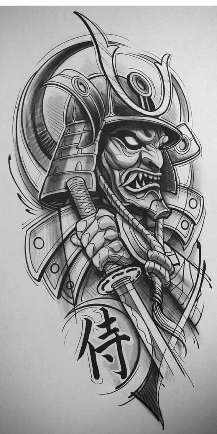 картинки для тату в виде самурая изоляторе рожок