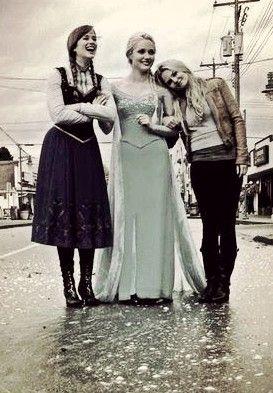 Elizabeth Lail, Georgina Haig, and Jennifer Morrison on the set of Once Upon a Time