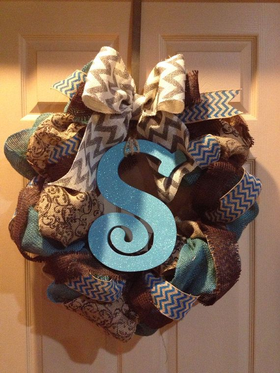 Burlap Chevron Wreath with initial by CoutureCreationsAR on Etsy, $65.00