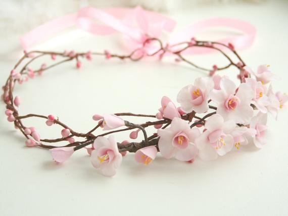 Sakura Blossom Crown Wedding Crown Bridal Crown Wedding Flower Crown Sakura Head Cherry Blossoms Flower Crown Wedding Bridal Flower Crown Bridal Flowers