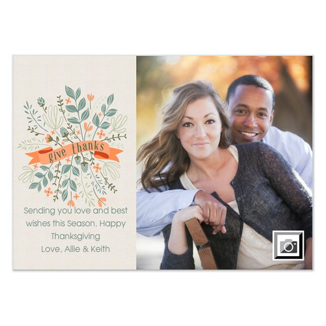 Free Thanksgiving Ecards to Send to Friends and Family: Give Thanks Floral Banner by Two Branching Out