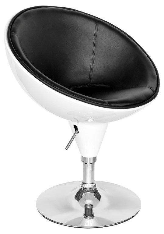 Swivel Egg Chair In White (with Black Seat)   Modern Furniture And Lighting  |