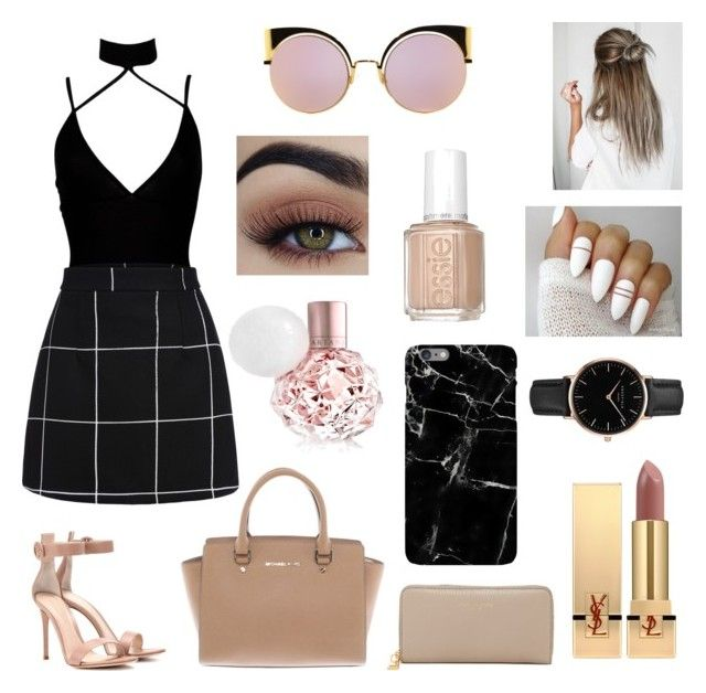 """Night Out "" by kirihawkins ❤ liked on Polyvore featuring Boohoo, Gianvito Rossi, Michael Kors, Marc Jacobs, Yves Saint Laurent, Fendi, Essie and Topshop"
