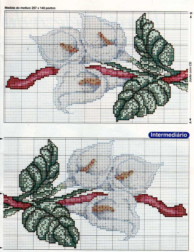 Cross stitch pattern, flower 2 of 2.