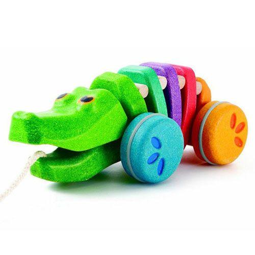 Plan Toys - Tęczowy krokodyl - zabawka do ciągnięcia