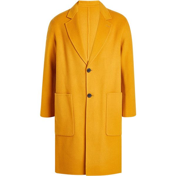 ami Wool Coat (1 320 AUD) ❤ liked on Polyvore featuring men's fashion, men's clothing, men's outerwear, men's coats, yellow, mens wool outerwear and mens wool coats