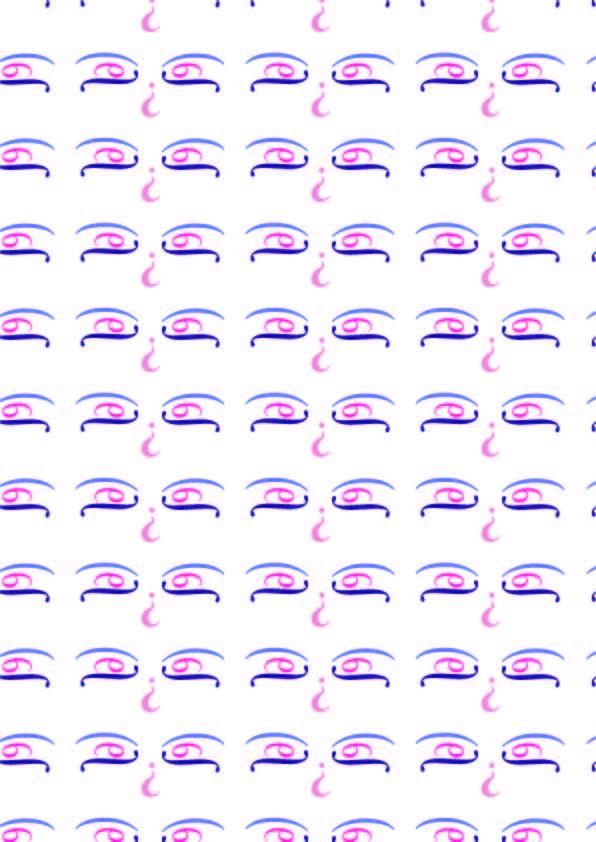 """Nueva- Carol Twombly, 1994 Pattern 1- SINUOSO Per richiamare il concetto di """"sinuoso"""" ho utilizzato colori abbastanza tenui e appartenenti alla stessa graduazione"""