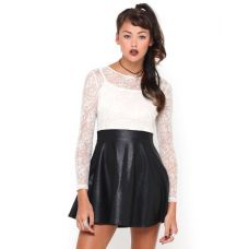 Motel Strawberry Skater Dress in White Skull Lace Save 25% on RRP £65 - £48.75 at Rokii shop, www.rokii.co.uk, Leather PU Skirt Lace embroidery Top, Grunge, Party, Clubbing 90's, rave Check out This Dress on the NEW ROKII ONLINE SHOP Order through FB or on the phone 02392294081 and get FREE LOCAL DELIVERY PO1-PO6, Lay Away until Christmas