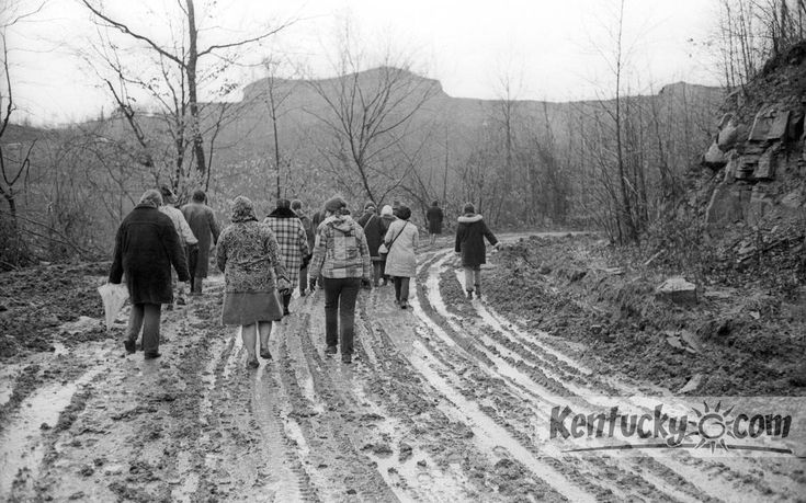 In January 1972, about two dozen women walked up a muddy road to occupy a surface mine site above Clear Creek in Knott County. Photo by Robert Newton Cooper