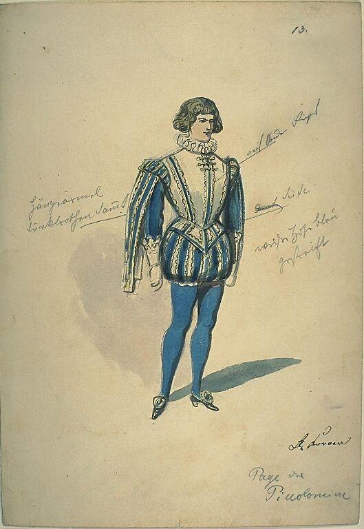 Kostümentwurf für die Figur des Pagen der Piccolomini aus 'Wallenstein' von Friedrich von Schiller | Franz Gaul | Bildindex der Kunst & Architektur
