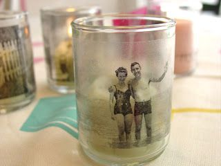 This is such a fun way to display photographs! The technique uses black and white photocopies and transparent contact paper to transfer images to glass votive candleholders. What happens is that the black ink sticks to the contact paper. It's a lot of fun to do. You'll be surprised by the results. It's like magic!  Old black and white photos work best because of the high contrast.