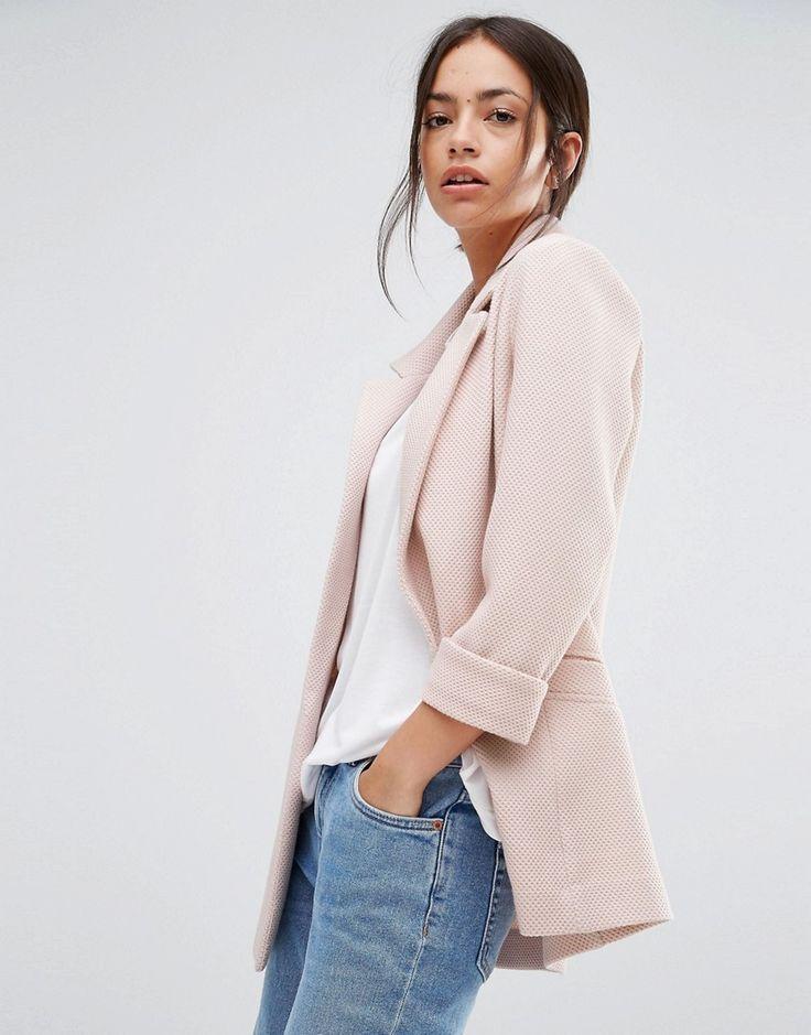 So cute. Plush pink woven blazer.