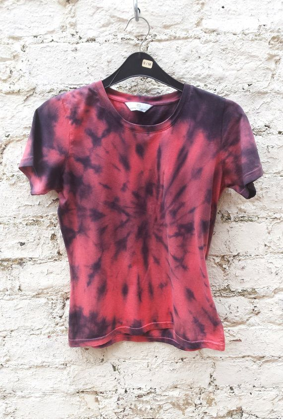 new today on www.abidashery.etsy.com Coral & Black Spiral Tie Dye Ladies Tshirt size 10 by AbiDashery