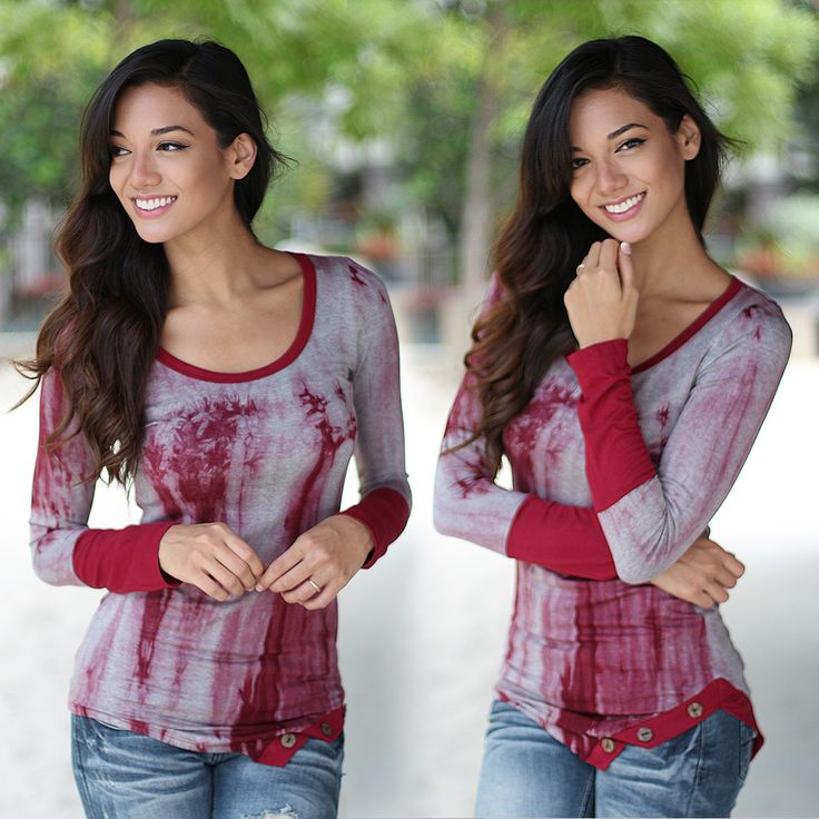 To TIE DYE for! With this amazing Burgundy Tie Dye Asymmetrical Top you're going to look AMAZING! This top is cute and comfy. With this beautiful burgundy tie dye you'll look cute and sassy as you walk down the street! Let's not forget the adorable button detail! See other adorable pants at our trendy online boutique!