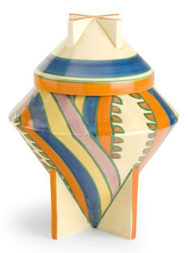 CLARICE CLIFF 'SHARKS TEETH'', CONICAL BISCUIT BARREL, CIRCA 1930