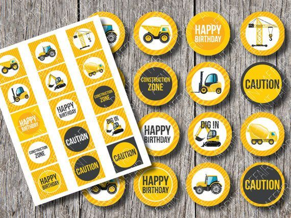construction party cupcake toppers free printables - Pesquisa Google