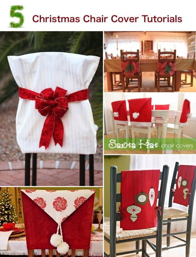 5 Christmas Chair Cover Tutorials — check out this blog post to see five terrific tutorials for making Christmas chair covers. #Christmasdecor #chaircovers #diy