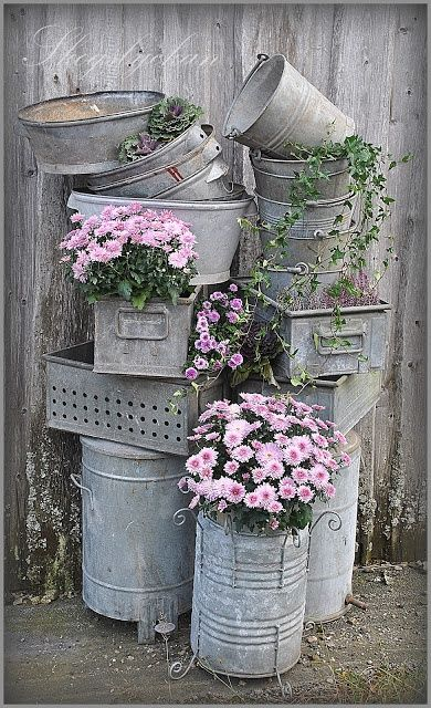 Garden Of Eatin: Vintage zinc containers filled with flowers and ivy