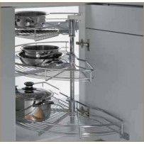 "Great Website for Kitchen Accessories Hafele Corner Solutions, Kessebohmer 1/4 Turn Systems, Half Moon Revolving Shelf, 17 1/4"", Chrome (541.19.229)"