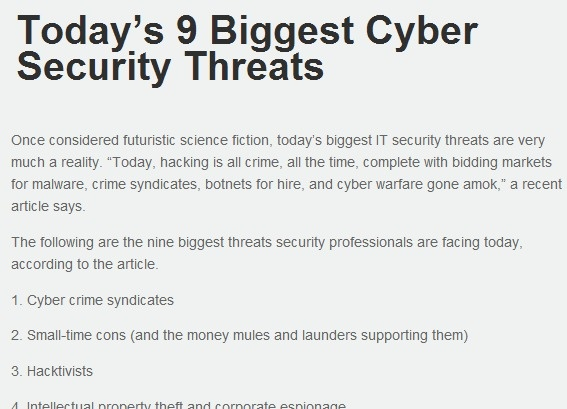 Todayu0027s 9 Biggest #Cyber #Security Threats Cybersecurity - cyber security resume