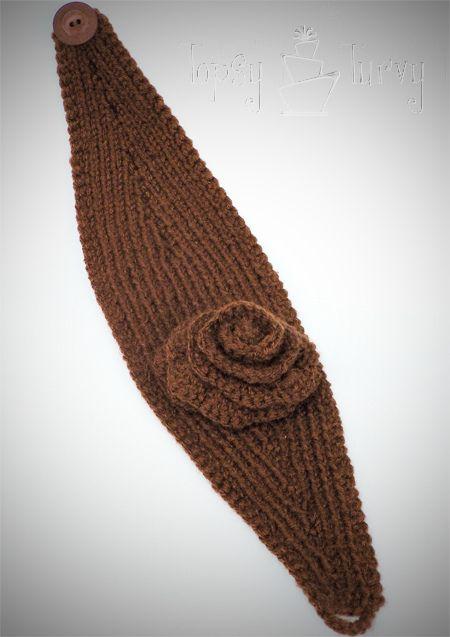 yarn knit ear warmer headband flower crochet by imtopsyturvy.com, via Flickr