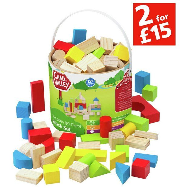 Buy Chad Valley Wooden 80 Piece Block Set at Argos.co.uk - Your Online Shop for Construction toys, LEGO and construction toys, Toys.