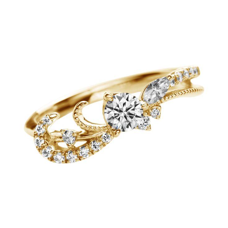 ブロデゥリ Broderie-エンゲージリング-イエローゴールド-メレダイヤ ... 婚約指輪 エンゲージリング ブロデゥリ