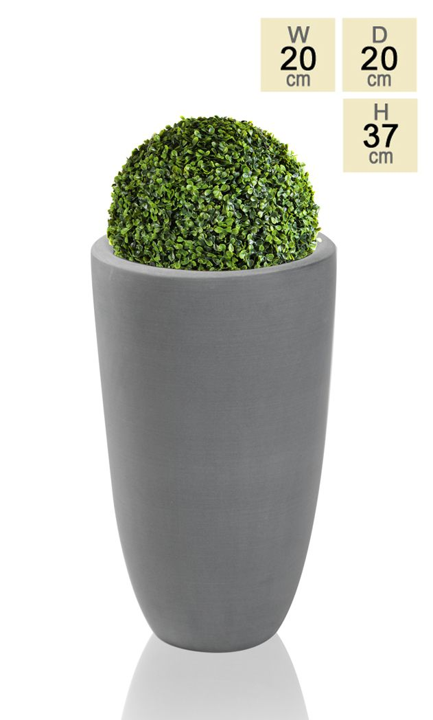 This tall, rounded Ambler planter is a distinctly modern addition to any garden. With its smooth, contemporary lines and gently rounded opening this planter is perfect for complementing round topiary or contrasting against the thin lines of reeds and grasses. Polystone planters a