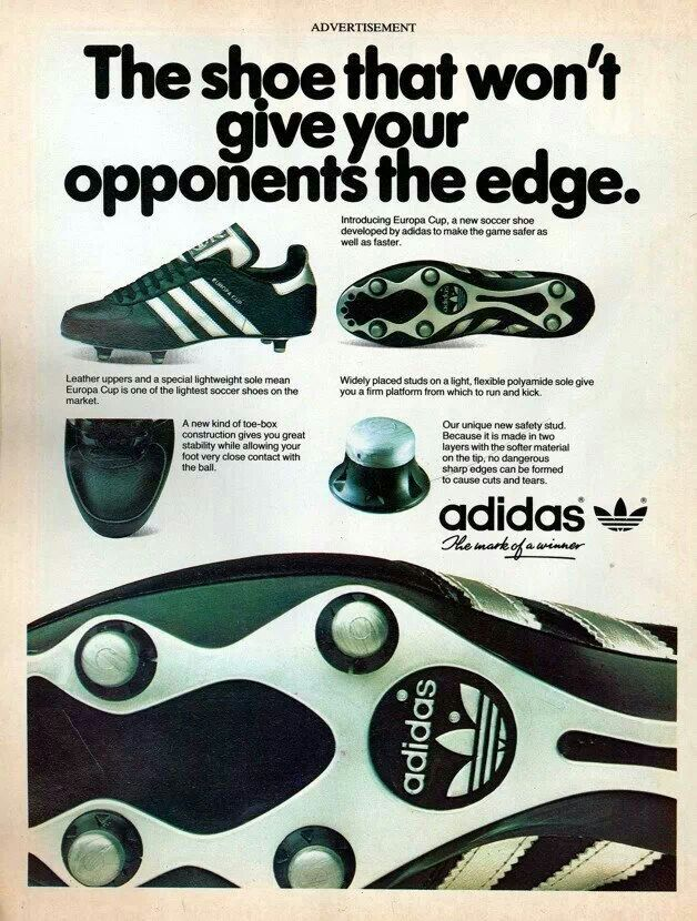 Ad for the adidas Europa Cup soccer boot.