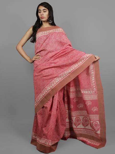 Pink Ivory Chanderi Hand Block Printed Saree With Ghicha Border - S031702451