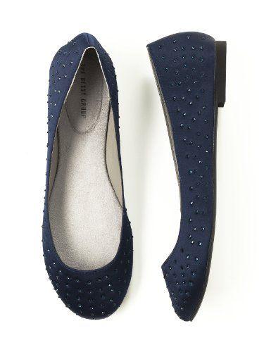 Navy Blue Satin Flat Ballet Shoes