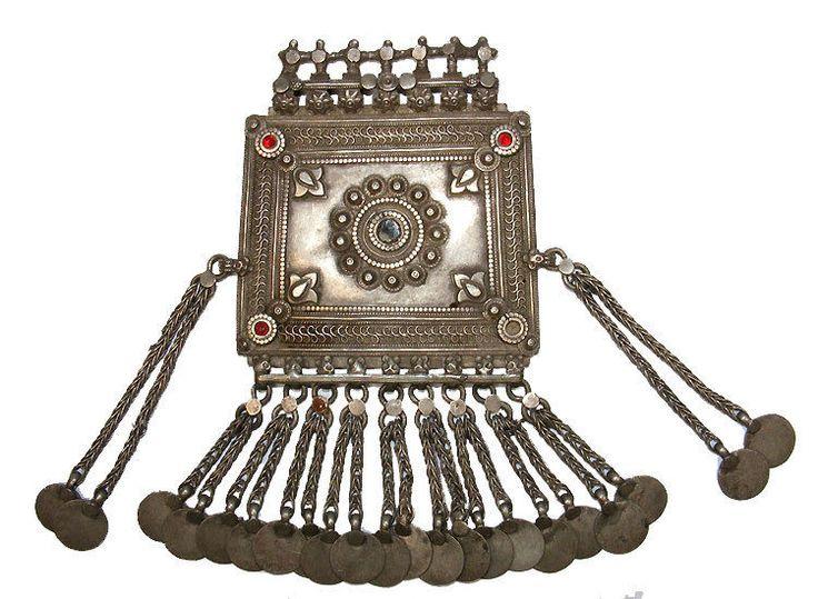 antik orient nomaden Silber Amulett Anhänger aus afghanistan Brust- schmuck No-3