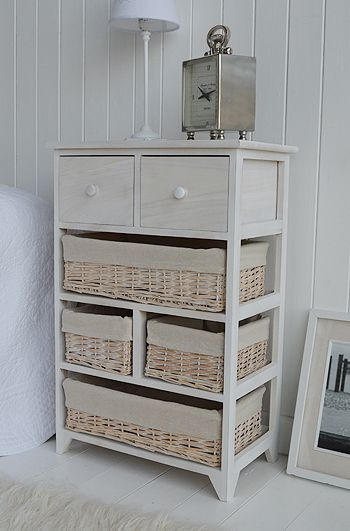 Cape Cod Large Storage Furniture With 6 Drawers Including Baskets Large  Bedside Table Or Lamp Table. White Bedroom ...