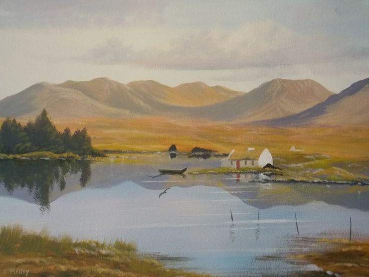 rounstone-cottage.jpg - Painting,  2x16x20 in ©2014 by Cathal O Malley -                                                              Realism, Canvas, Landscape, thatched cottage, ireland, , water, currach