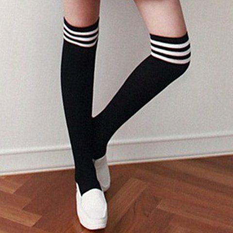 Pair of Chic Stripe Pattern Edge College Style Stockings For Women Socks | RoseGal.com Mobile