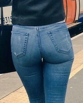 "satinpantykings: ""Source:tight-jeans-asses """