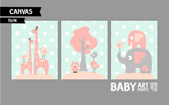 Coral Peach Mint and Grey Girl Nursery canvas art by babyartprints