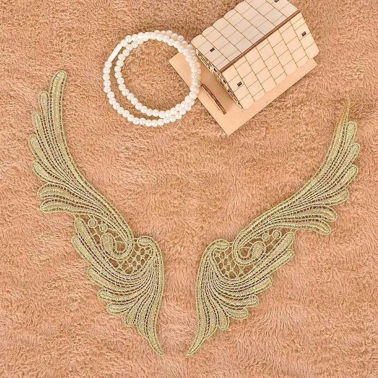 Gold thread sewing patch,Angel  wings applique,diy fabric appliques craft