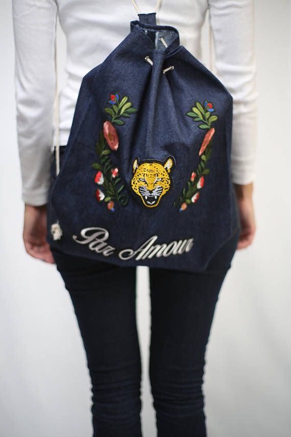 Handmade Unique Bucket Drawstring Denim Jeans Patched patched gucci embroidery jeans denim fashion woman girl school bag backpack shopper back tiger grunge hipster urban street 2017