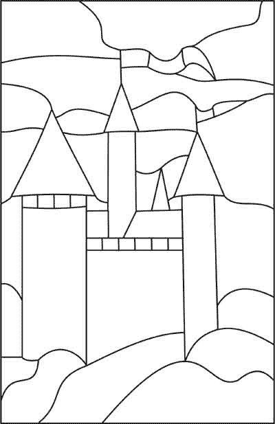 Weeks 16-17: Print enlarged castle pattern; transfer to wax paper and color with Sharpies for stained glass look!