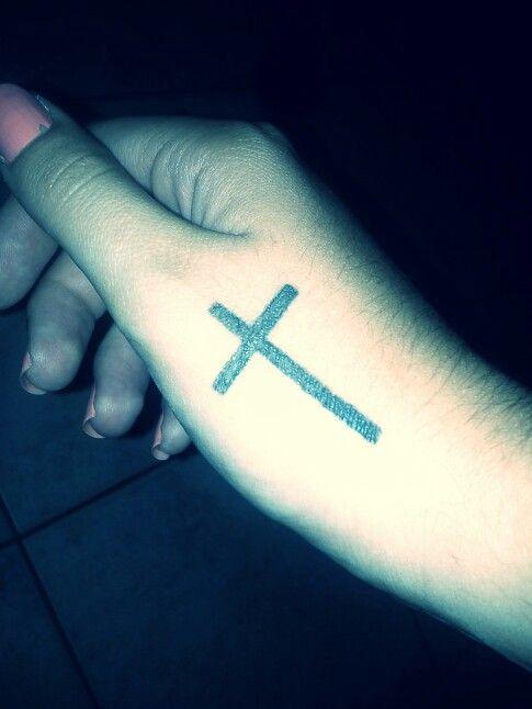 Cross hand tattoo girly fashion religion believe