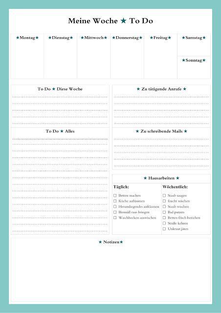 Die Selbstmacher: To Do - Liste als Übersicht für die ganze Woche (gibts auch noch in rosa und blau)