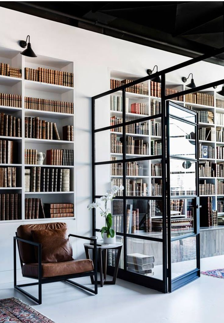 Beautiful interior.  Industrial style. Home library.