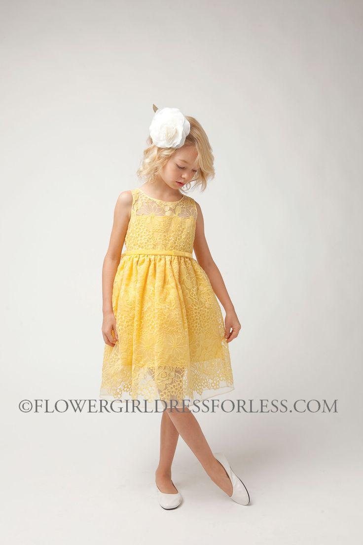 SK_492Y - Girls Dress Style 492- Sleeveless Sheer Panel Organza Dress - Yellows - Flower Girl Dress For Less