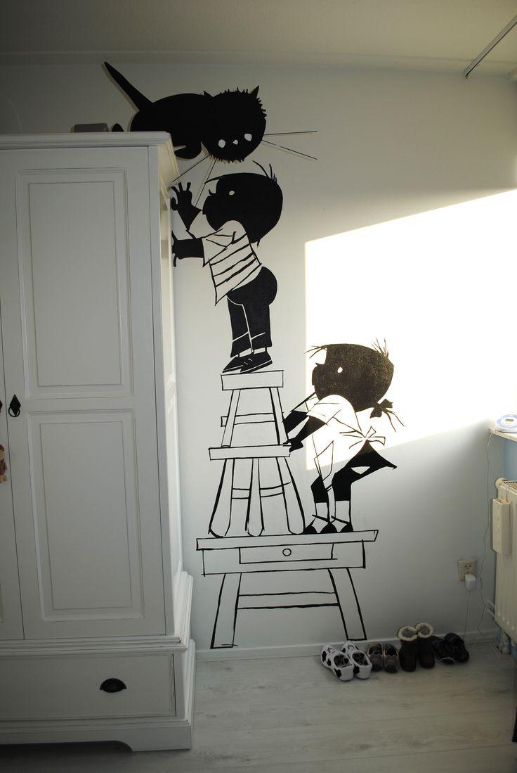 Jip en Janneke muurschildering, erg leuk!  Via www.jeskeved.nl