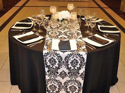 Black \u0026 White 12\  x 108\  Flocking Damask Table Runner Flocked Velvet Made in USA & 95 best Damask Table Runners images on Pinterest | Black and white ...